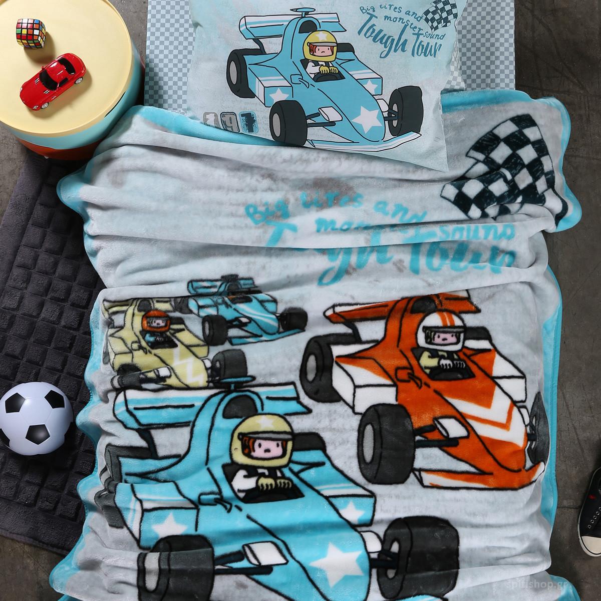 Κουβέρτα Βελουτέ Μονή Nef-Nef Junior Racing Cars