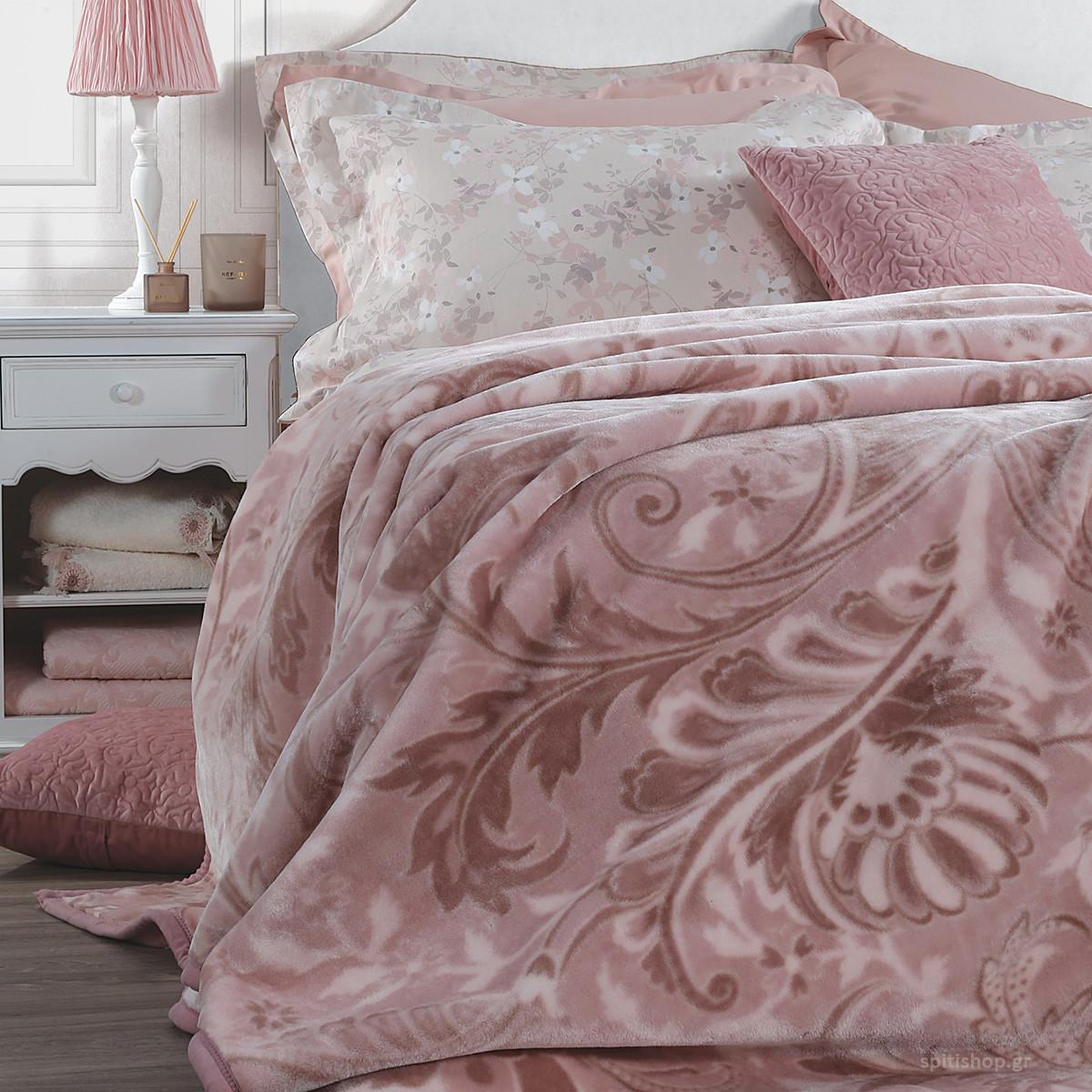 Κουβέρτα Βελουτέ Υπέρδιπλη Nef-Nef Alba Pink