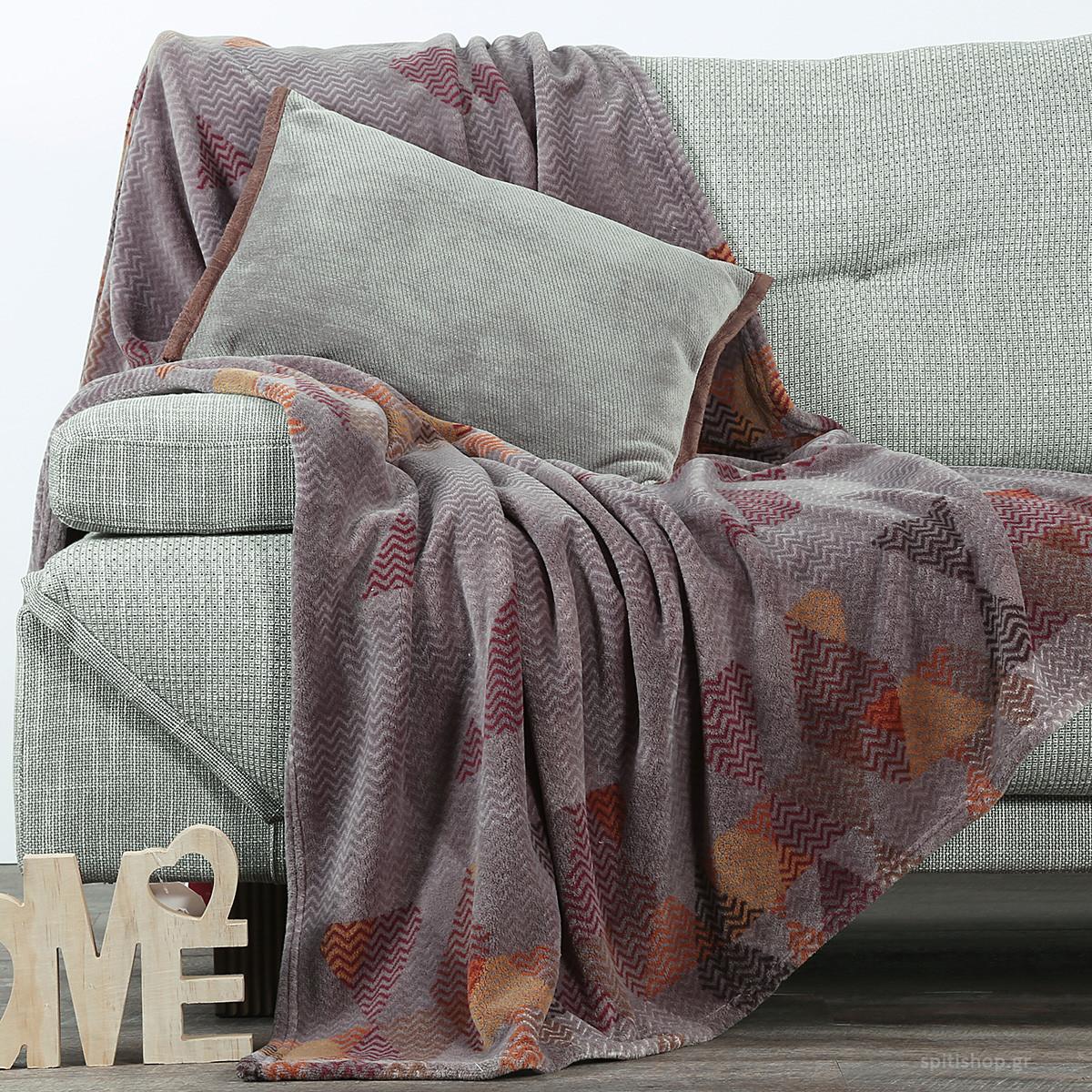 Κουβέρτα Καναπέ Nef-Nef Vitro Grey