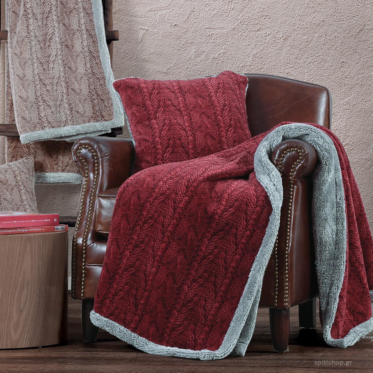Κουβέρτα Καναπέ Nef-Nef Knitty Bordo