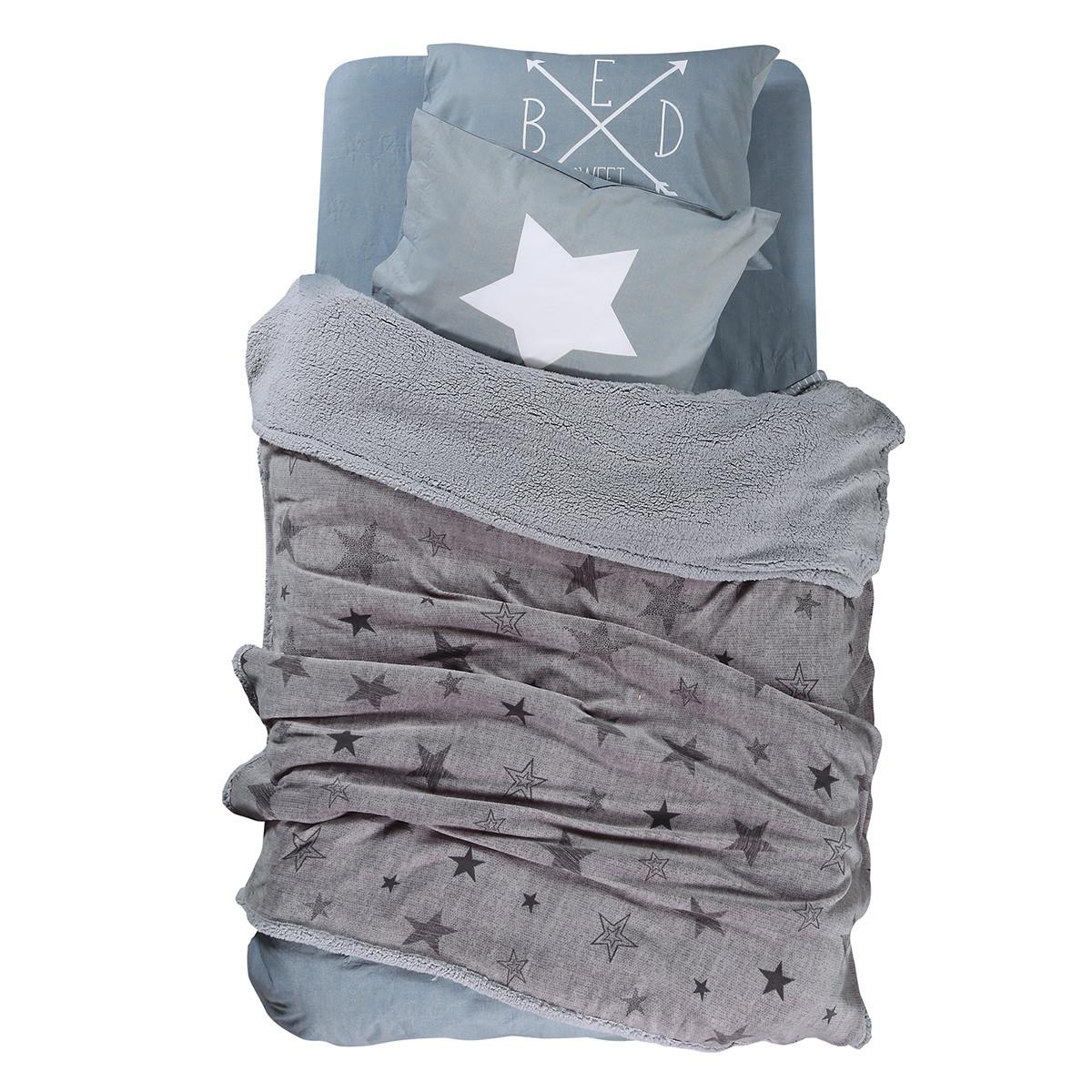 Κουβέρτα Fleece Μονή Με Γουνάκι Nef-Nef Astro Grey