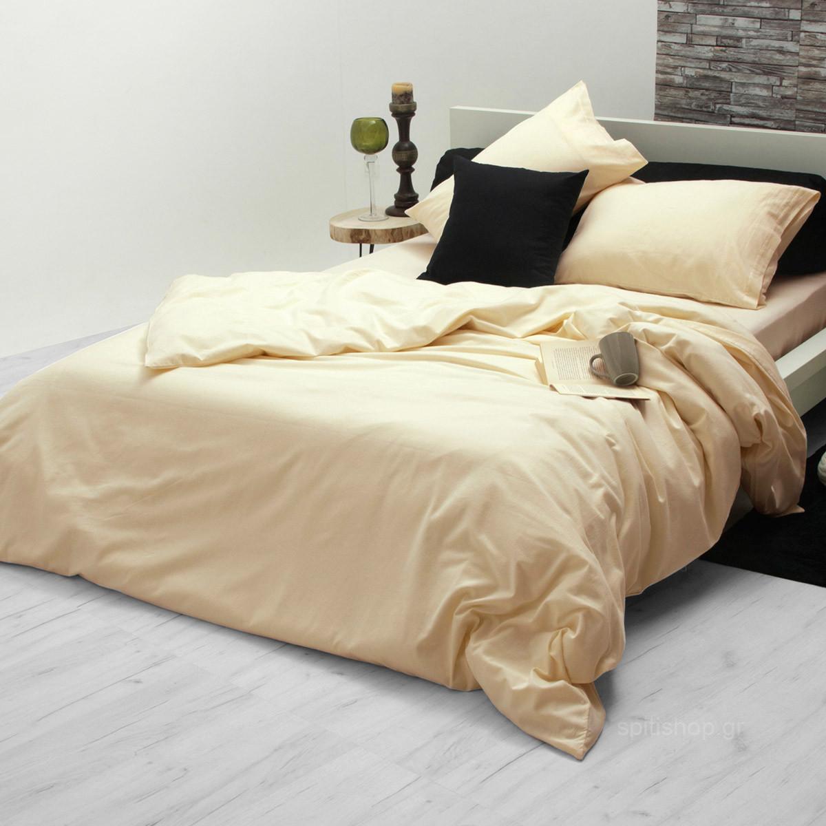 Φανελένιο Σεντόνι Υπέρδιπλο Sb Home Flannel Cream