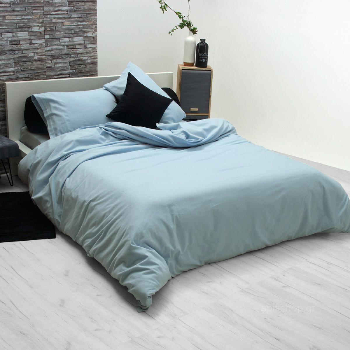 Φανελένιο Σεντόνι Υπέρδιπλο Sb Home Flannel Blue