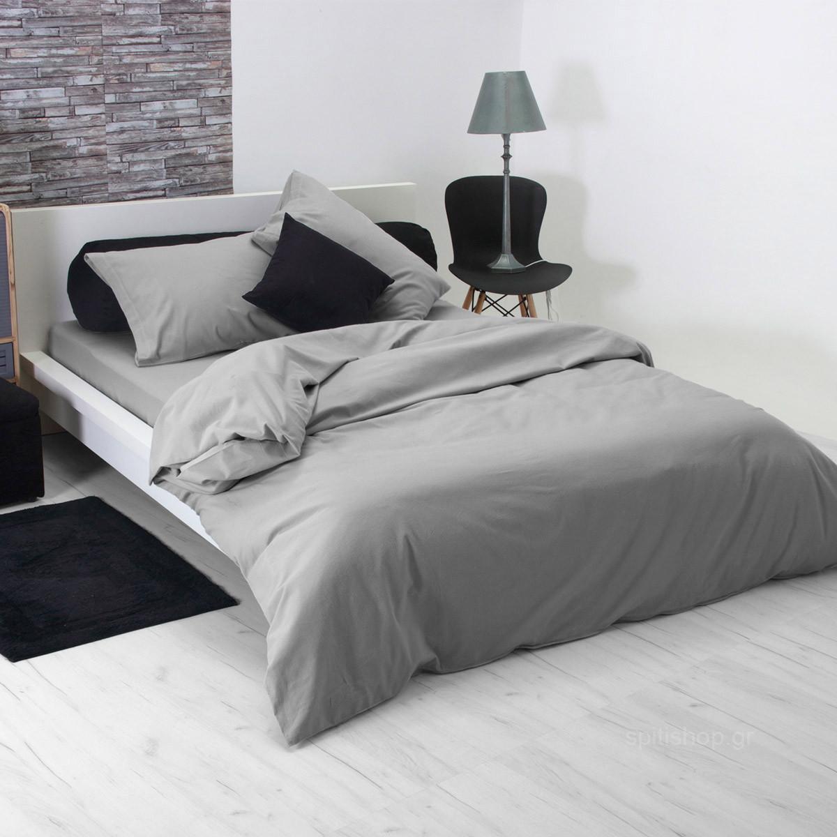 Φανελένια Παπλωματοθήκη Υπέρδιπλη Sb Home Flannel Grey