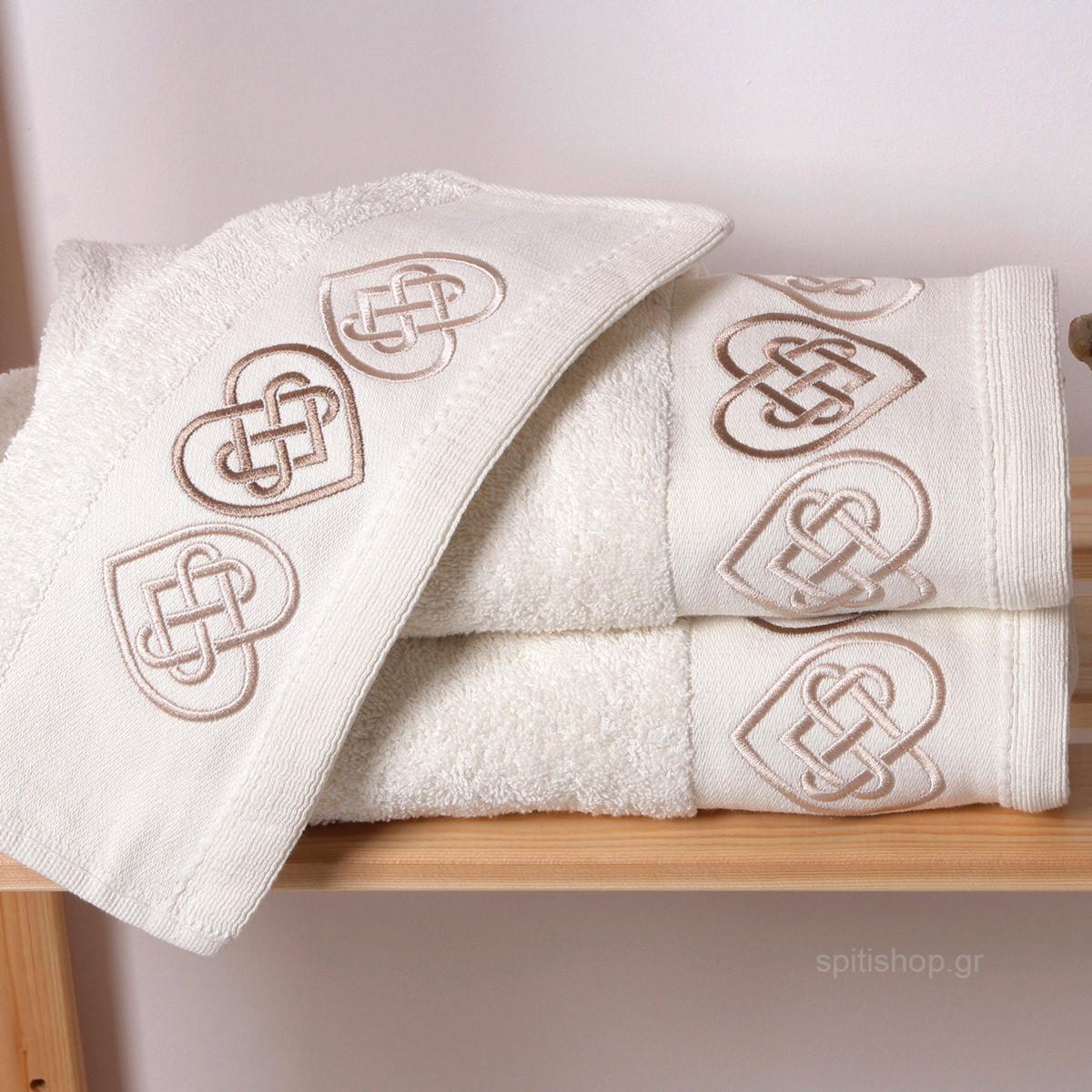 Πετσέτες Μπάνιου (Σετ 3τμχ) Sb Home Hearts Cream