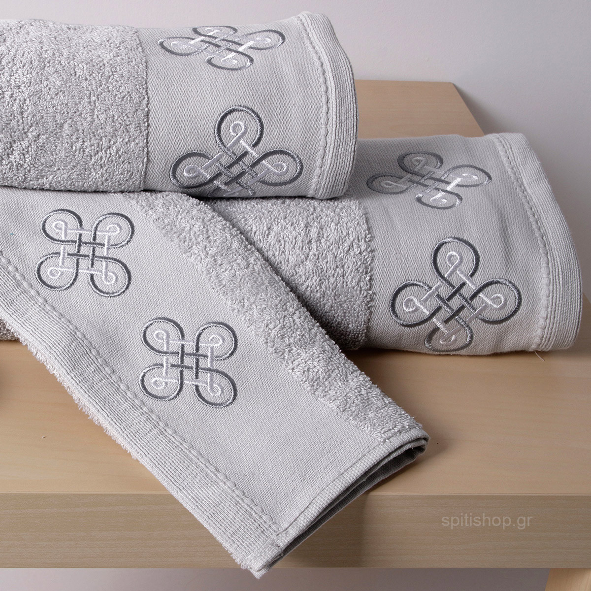 Πετσέτες Μπάνιου (Σετ 3τμχ) Sb Home Cross Siver