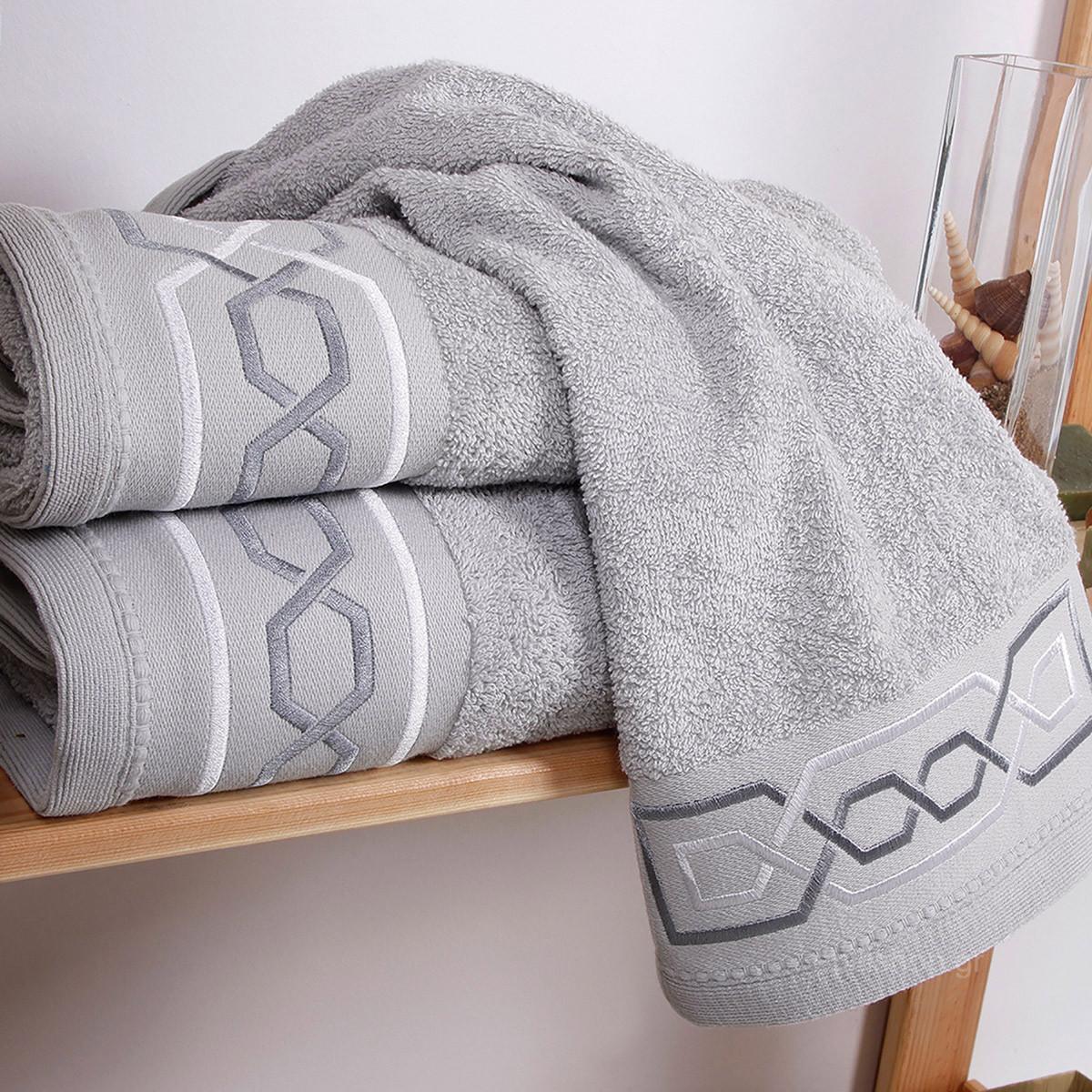 Πετσέτες Μπάνιου (Σετ 3τμχ) Sb Home Chain Siver