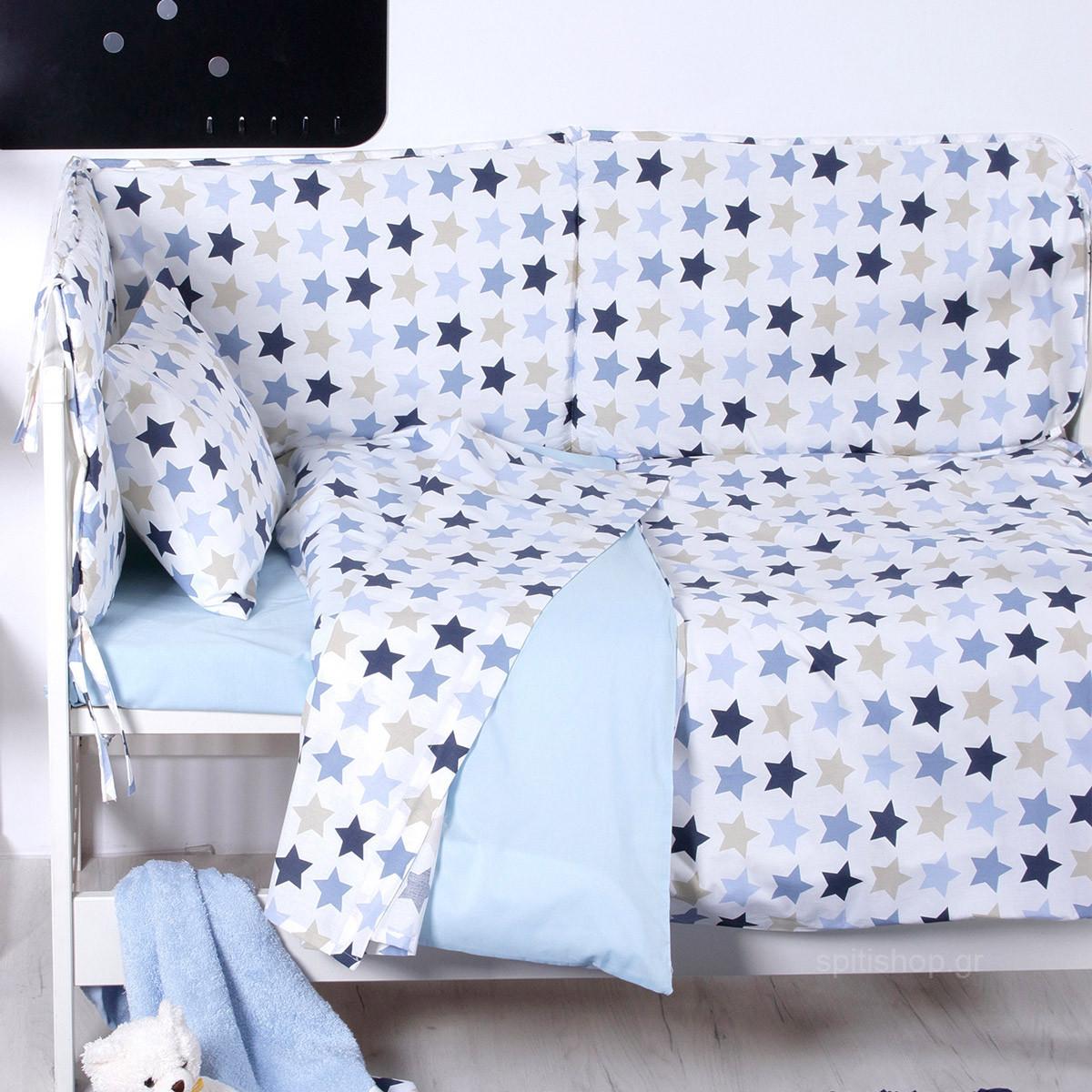 Σεντόνια Κούνιας (Σετ) Sb Home Baby Stars Blue