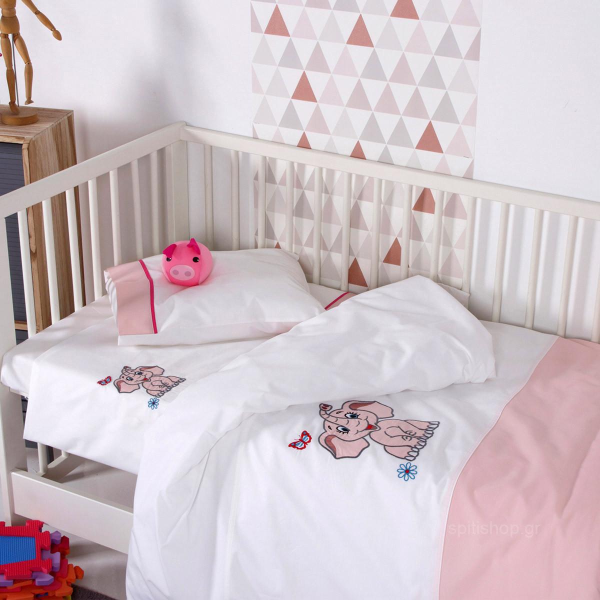 Παπλωματοθήκη Κούνιας (Σετ) Sb Home Baby Dumbo Pink