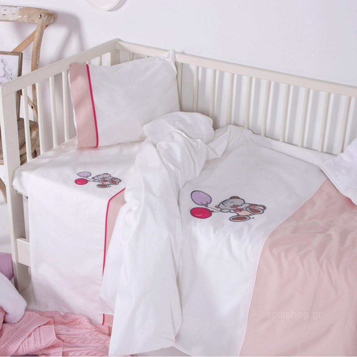 Σεντόνια Κούνιας (Σετ) Sb Home Baby Arturo Pink