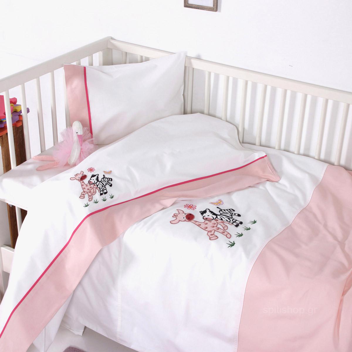 Σεντόνια Κούνιας (Σετ) Sb Home Baby Olly & Zemo Pink