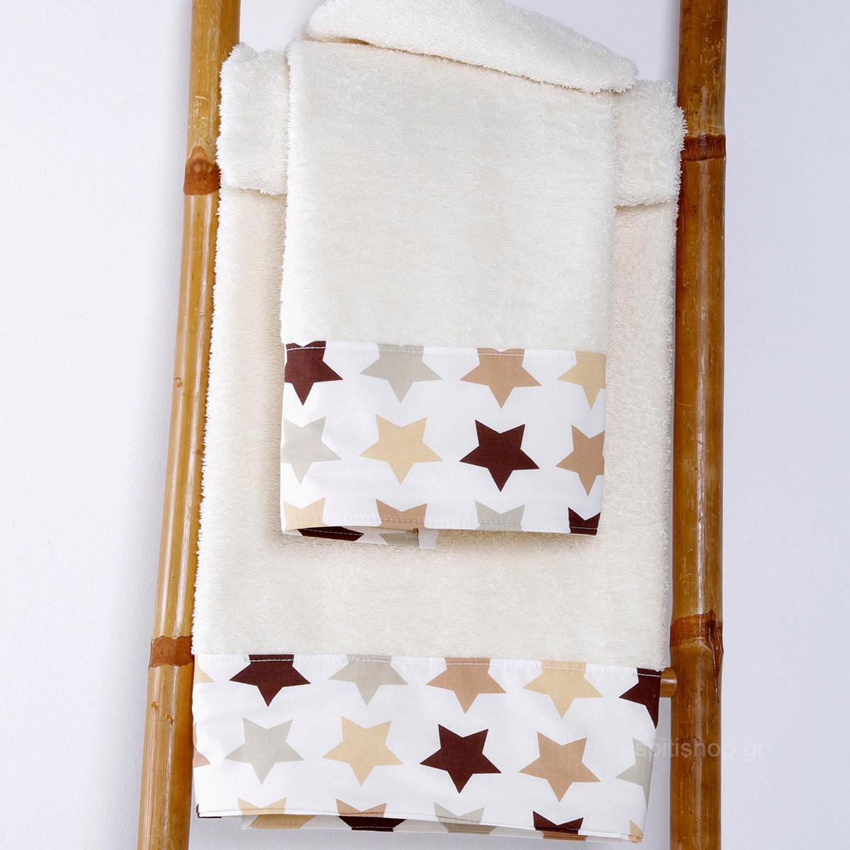 Βρεφικές Πετσέτες (Σετ 2τμχ) Sb Home Baby Stars Beige