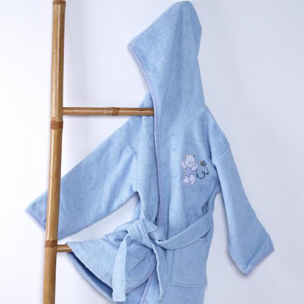 Βρεφικό Μπουρνούζι Sb Home Teddy Bear Blue