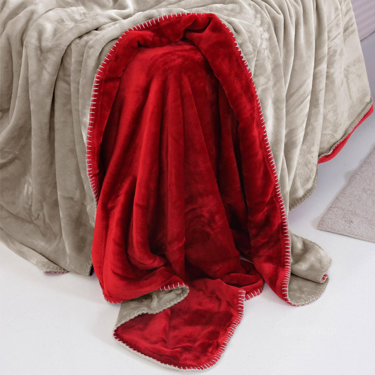 Κουβέρτα Fleece Μονή 2 Όψεων Sb Home Abbracio Cherry