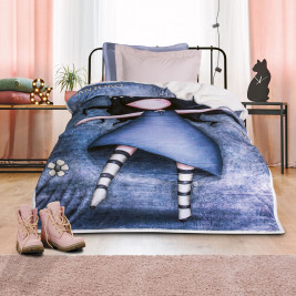 Κουβέρτα Fleece Μονή Με Γουνάκι Das Home Santoro 5016