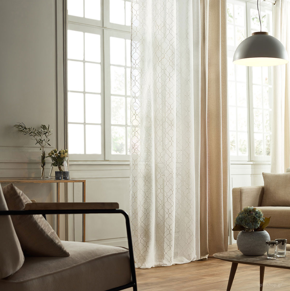 Κουρτίνα (140x280) Με Τρουκς Gofis Home Praxy Off White 974/16
