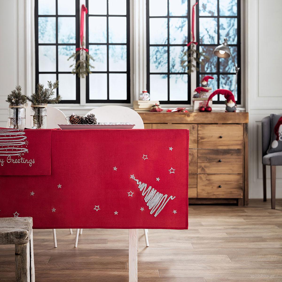 Χριστουγεννιάτικο Τραπεζομάντηλο (135×135) Gofis Home 231/02