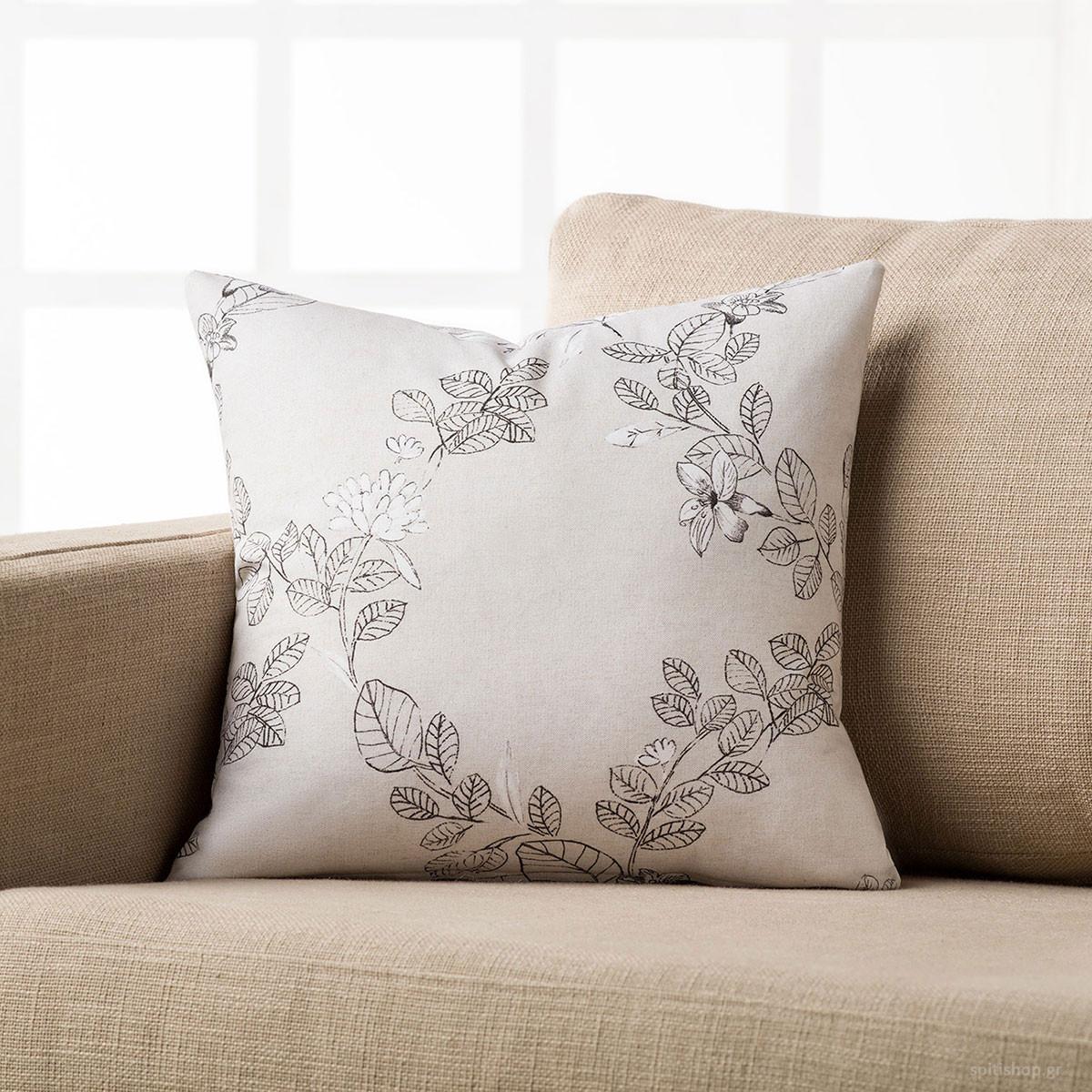 Διακοσμητική Μαξιλαροθήκη Gofis Home White Blossom 737