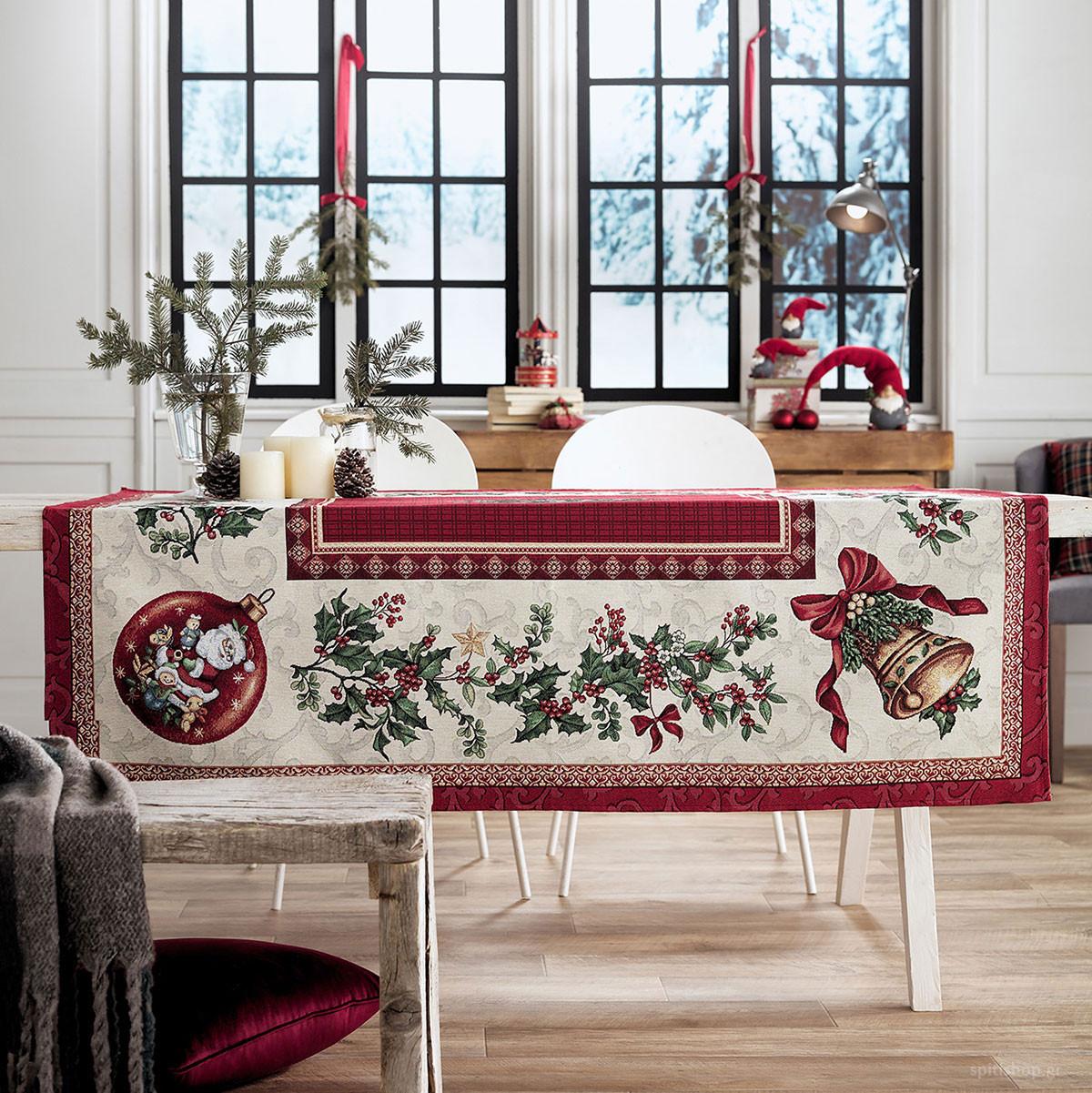 Χριστουγεννιάτικο Τραπεζομάντηλο (135×135) Gofis Home 849