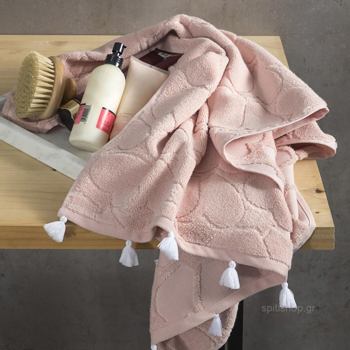 Πετσέτες Μπάνιου (Σετ 3τμχ) Nima Towels Love Salmon