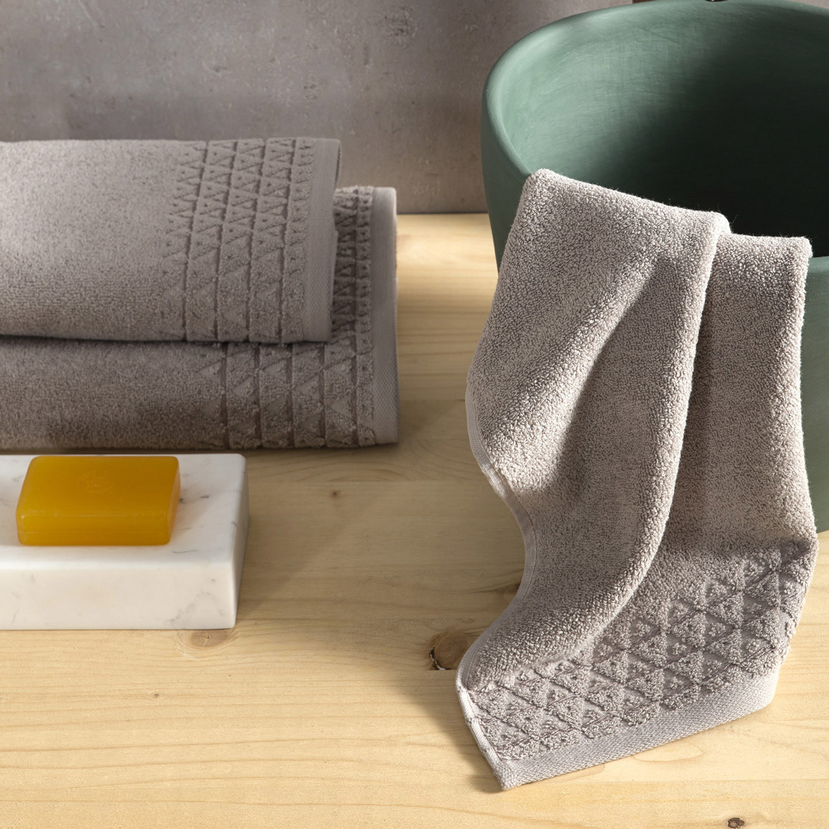 Πετσέτες Μπάνιου (Σετ 3τμχ) Nima Towels Dome Taupe