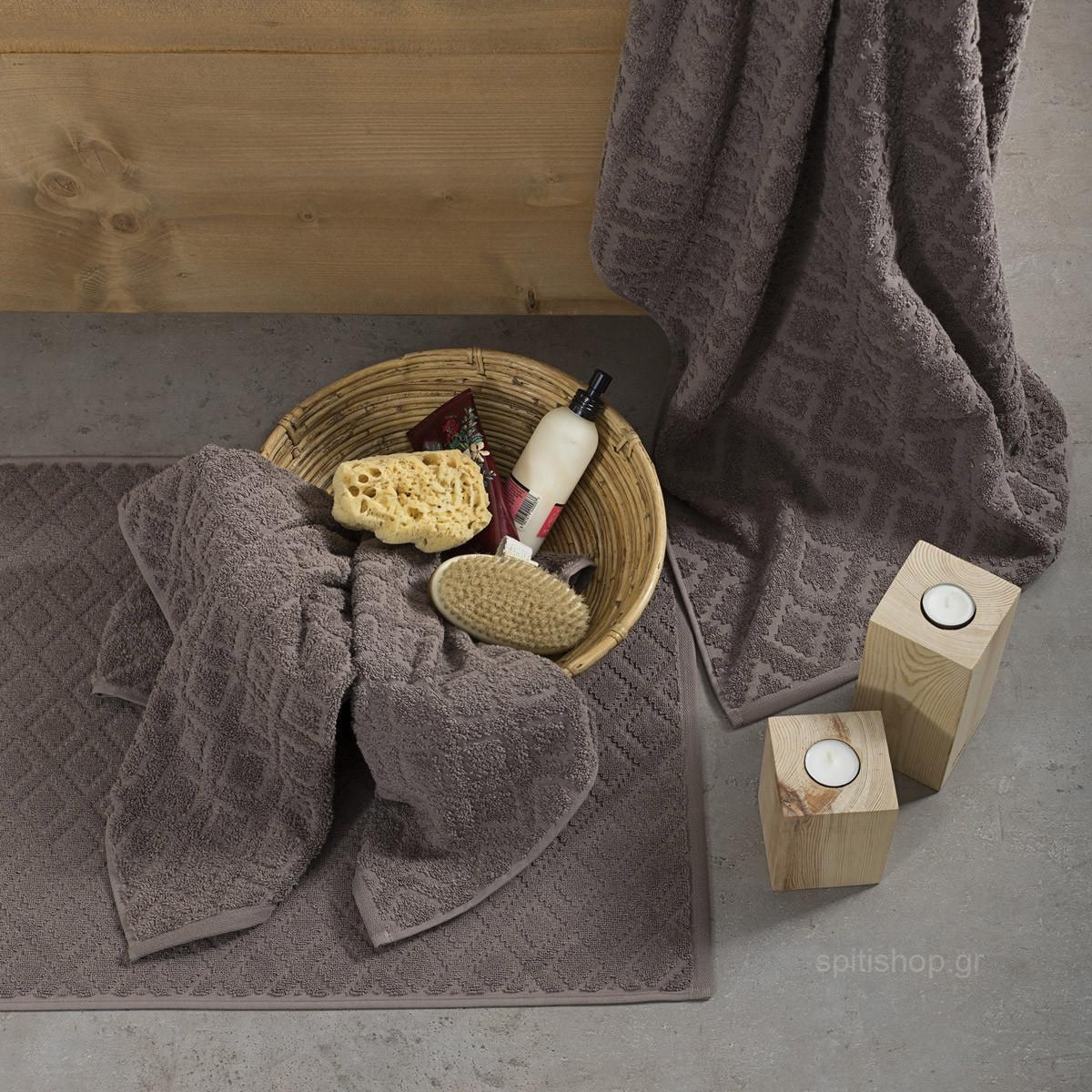 Πετσέτες Μπάνιου (Σετ 3τμχ) Nima Towels Reina Brown