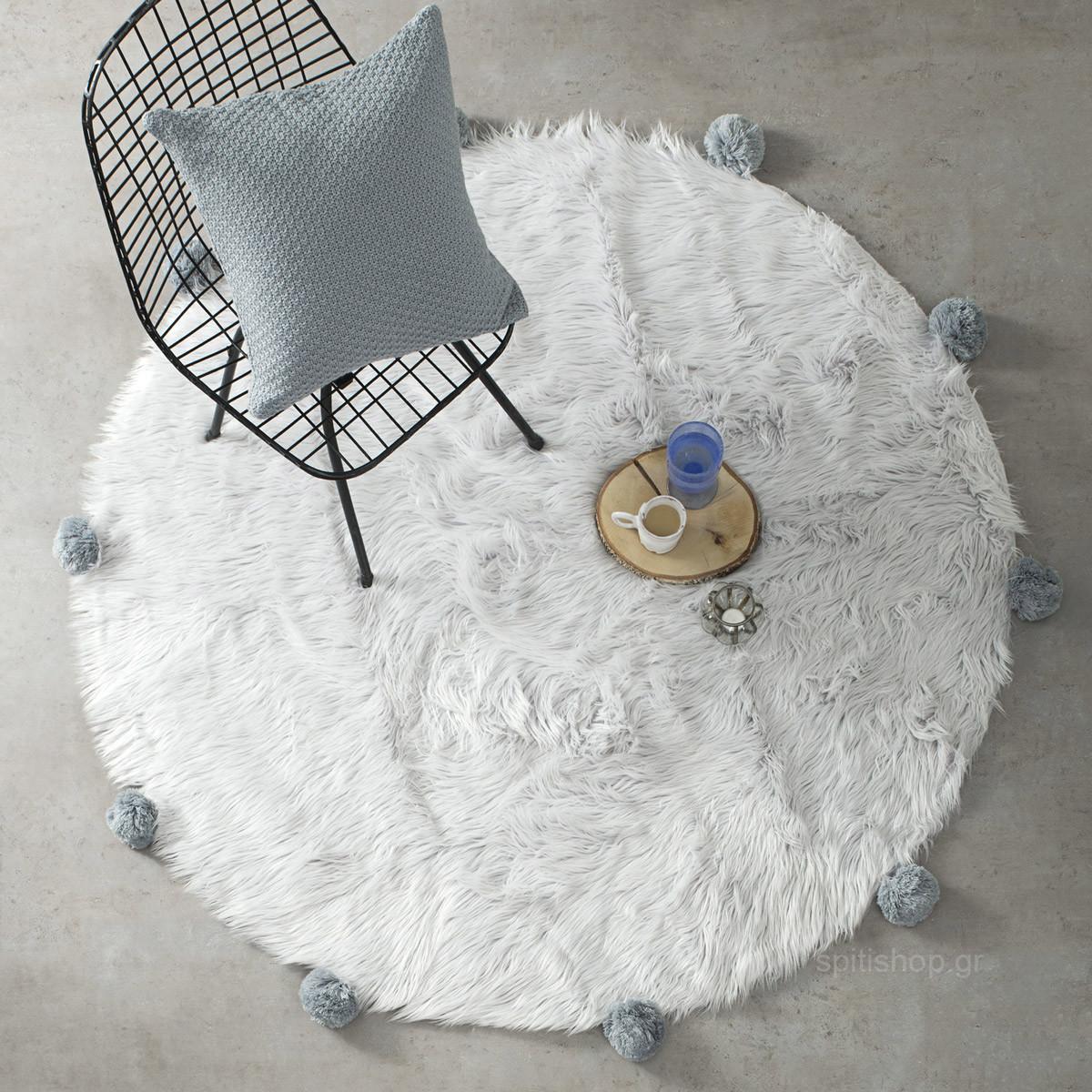 Γούνινο Στρογγυλό Χαλί (Φ120) Nima Carpets Fluffy Grey