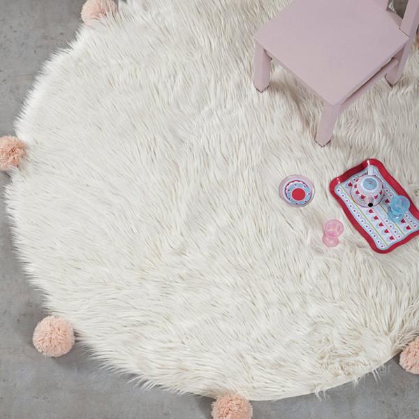 Γούνινο Στρογγυλό Χαλί (Φ150) Nima Carpets Fluffy Taupe