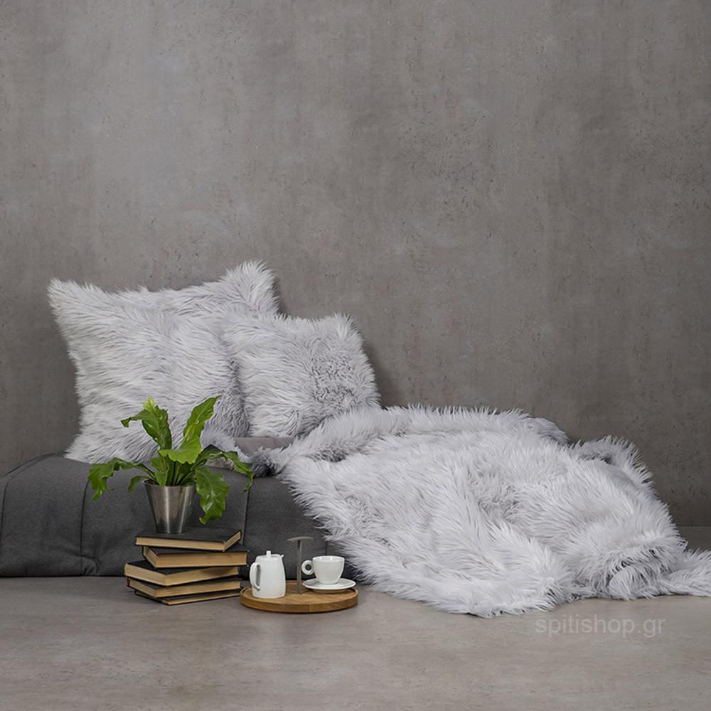 Κουβέρτα Καναπέ Nima Throws Fluffy Grey