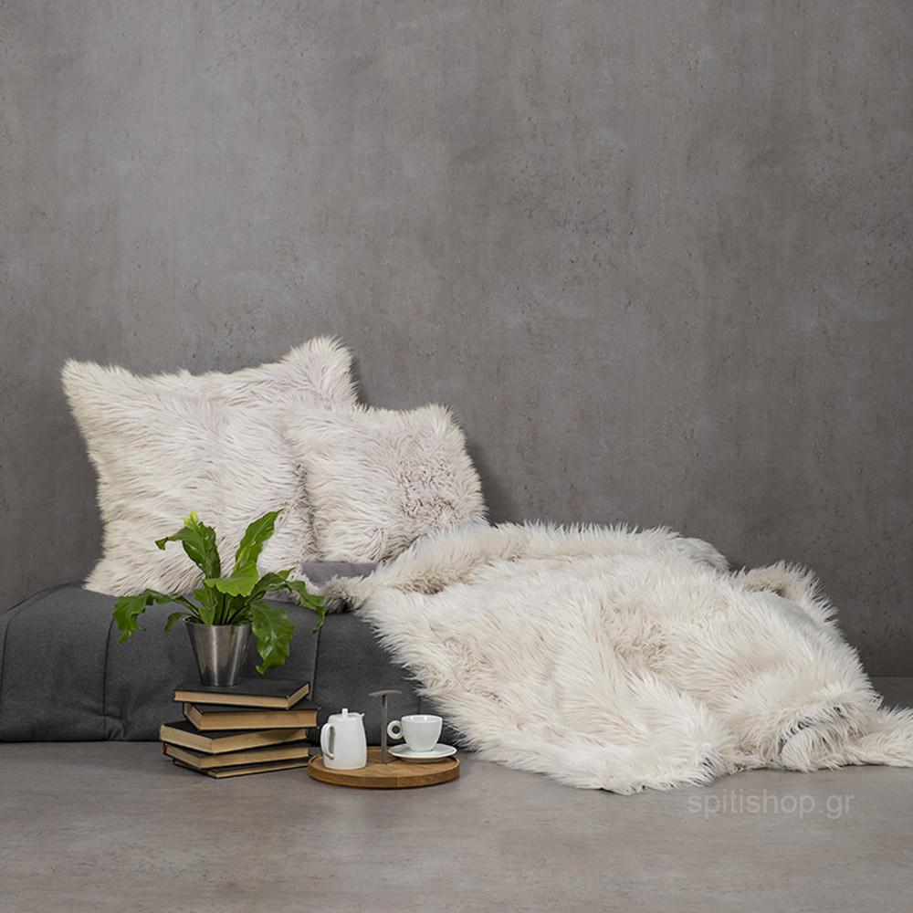Κουβέρτα Καναπέ Nima Throws Fluffy Taupe