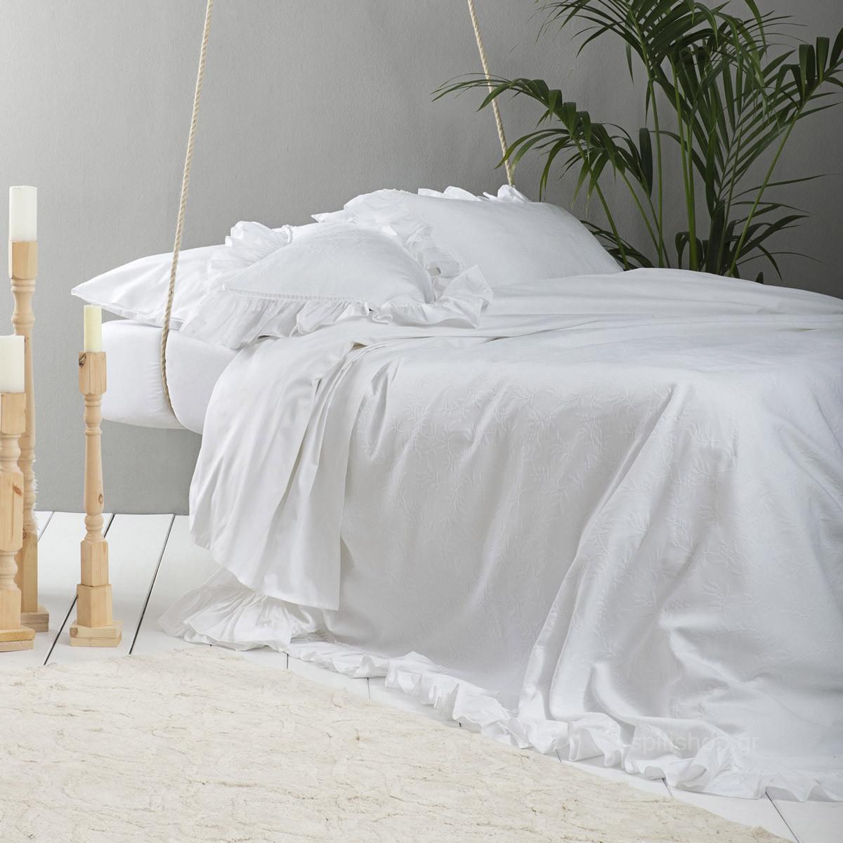 Κουβερτόριο Υπέρδιπλο Nima White Luxury Oasis home   μόδα γάμου   κουβερλί νυφικά