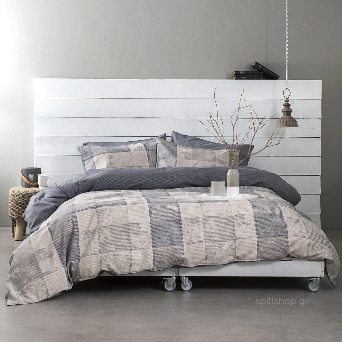 Φανελένια Παπλωματοθήκη Υπέρδιπλη (Σετ) Nima Bed Linen Meddley