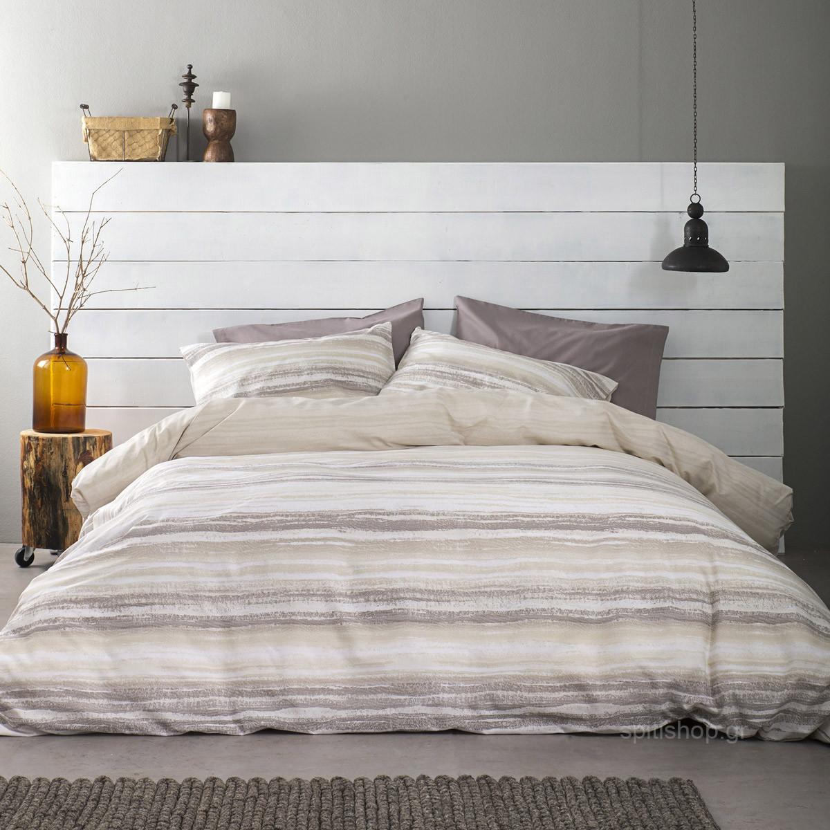 Παπλωματοθήκη Μονή (Σετ) Nima Bed Linen Softwood Earth