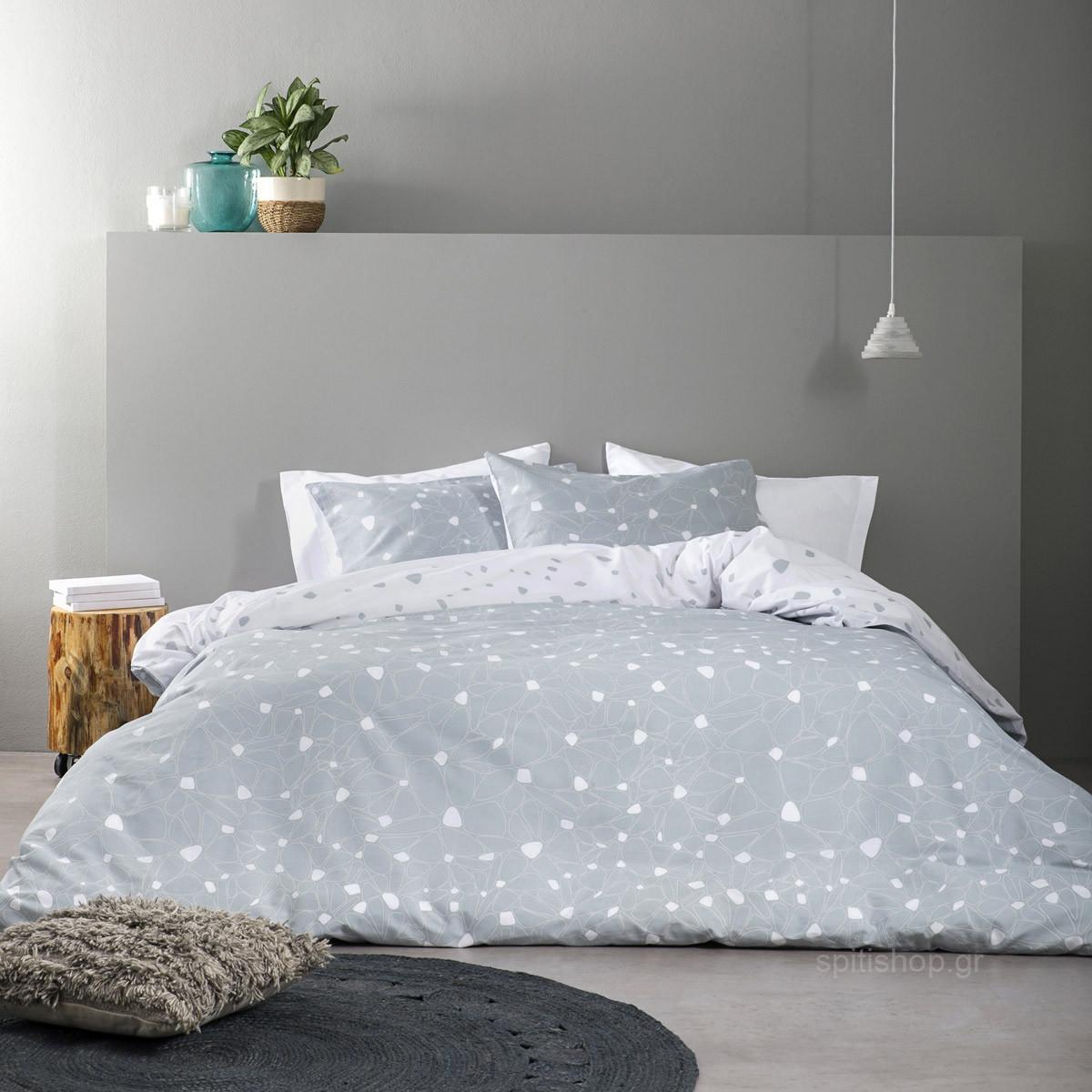 Σεντόνια Υπέρδιπλα (Σετ) Nima Bed Linen Fleur Grey ΜΕ ΛΑΣΤΙΧΟ 160×200+32 ΜΕ ΛΑΣΤΙΧΟ 160×200+32