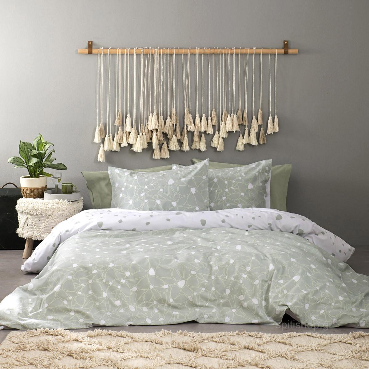Σεντόνια Υπέρδιπλα (Σετ) Nima Bed Linen Fleur Green ΜΕ ΛΑΣΤΙΧΟ ΜΕ ΛΑΣΤΙΧΟ