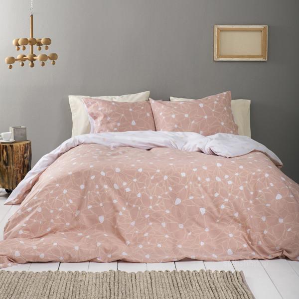 Παπλωματοθήκη Μονή (Σετ) Nima Bed Linen Fleur Salmon