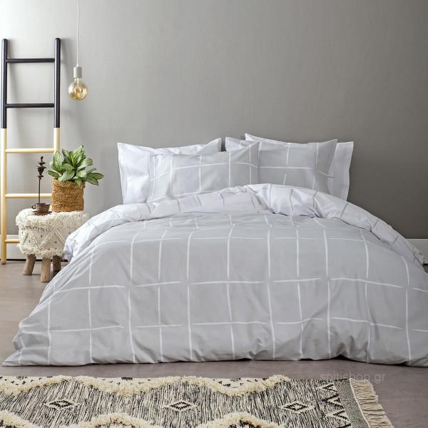 Σεντόνια Μονά (Σετ) Nima Bed Linen Infinity Grey