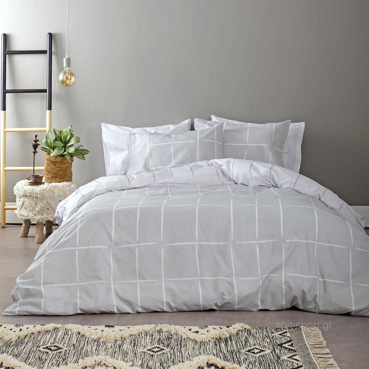 Σεντόνια Υπέρδιπλα (Σετ) Nima Bed Linen Infinity Grey ΜΕ ΛΑΣΤΙΧΟ 160×200+32 ΜΕ ΛΑΣΤΙΧΟ 160×200+32