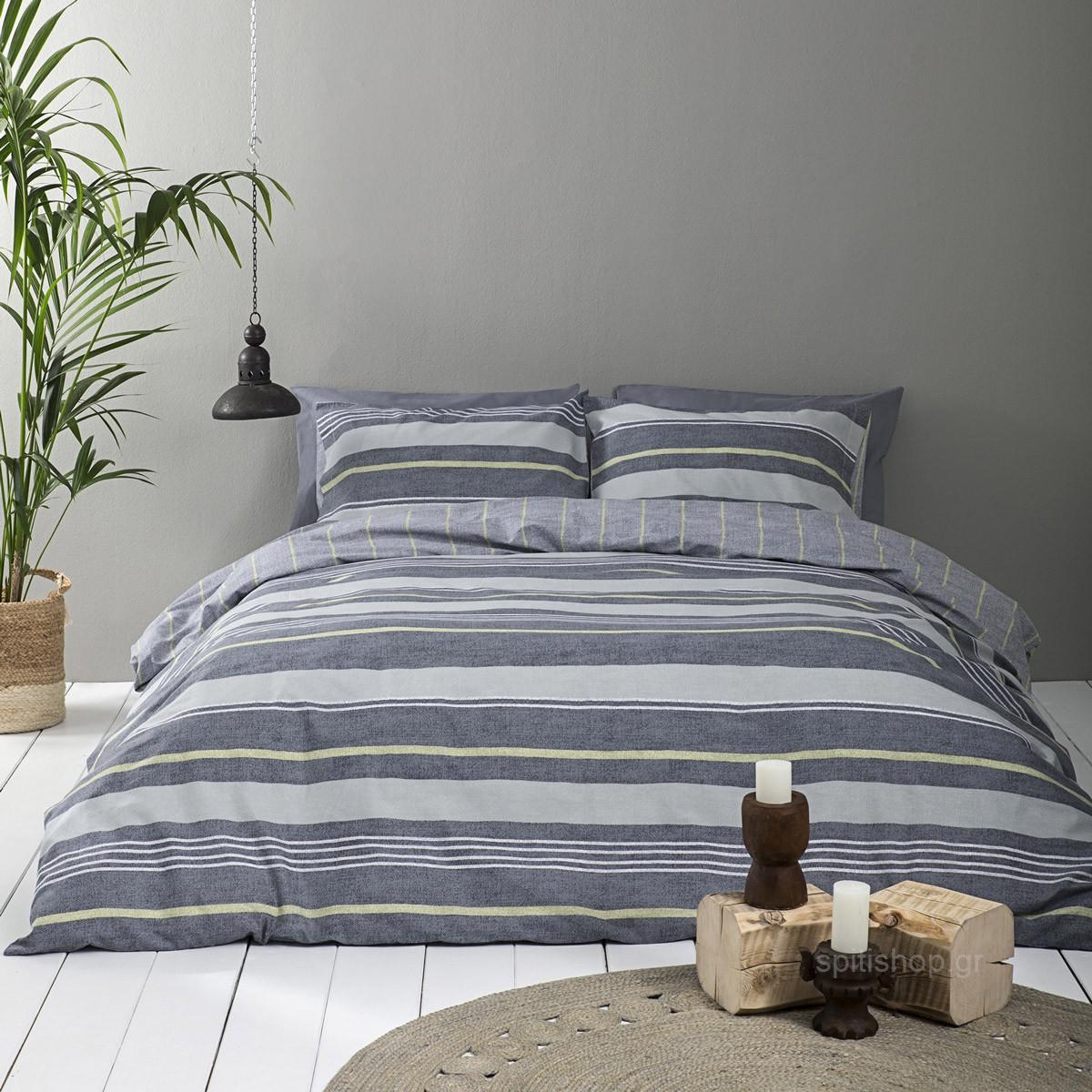 Παπλωματοθήκη Μονή (Σετ) Nima Bed Linen Stripped Green