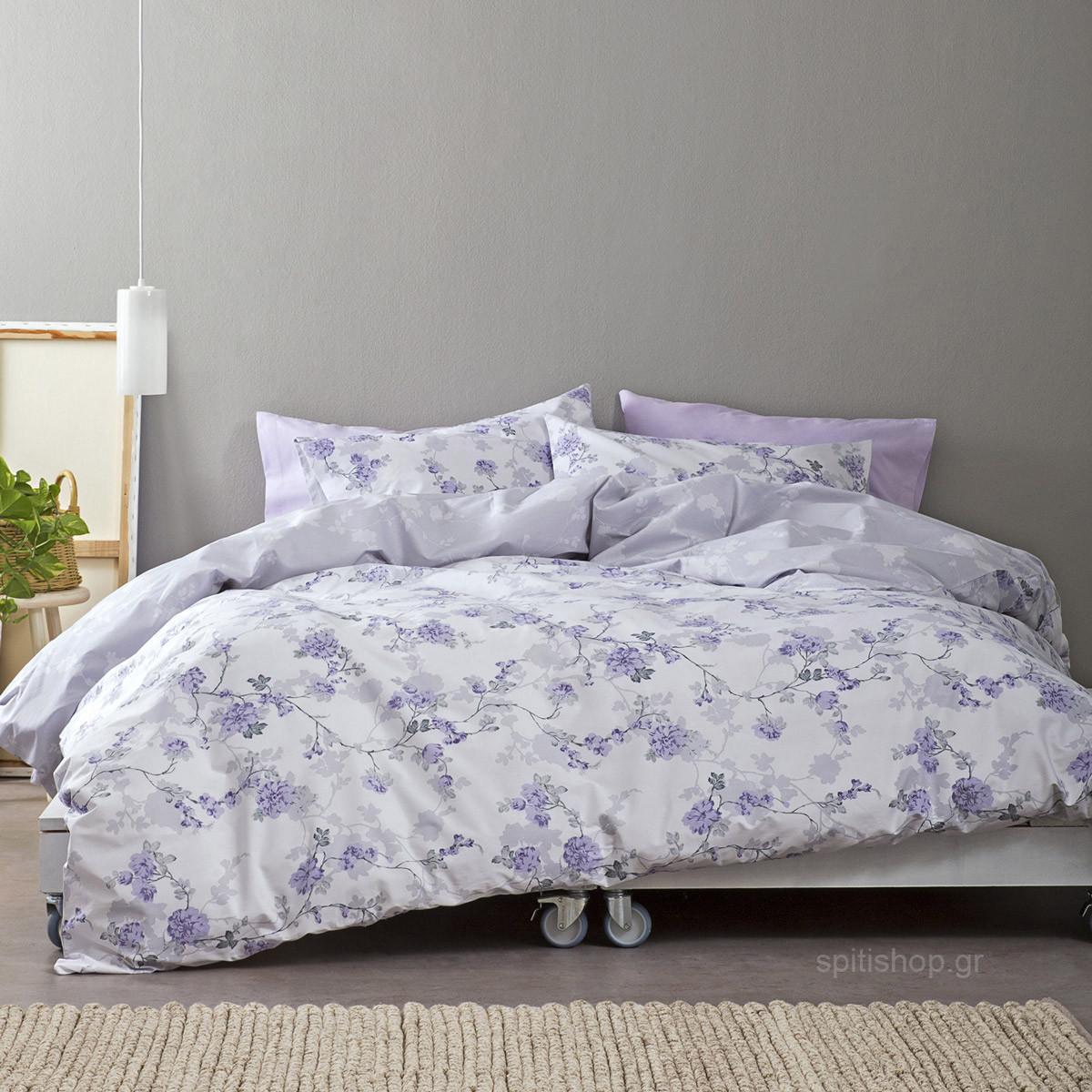 Σεντόνια Διπλά (Σετ) Nima Bed Linen Peonia Lilac home   κρεβατοκάμαρα   σεντόνια   σεντόνια ημίδιπλα   διπλά