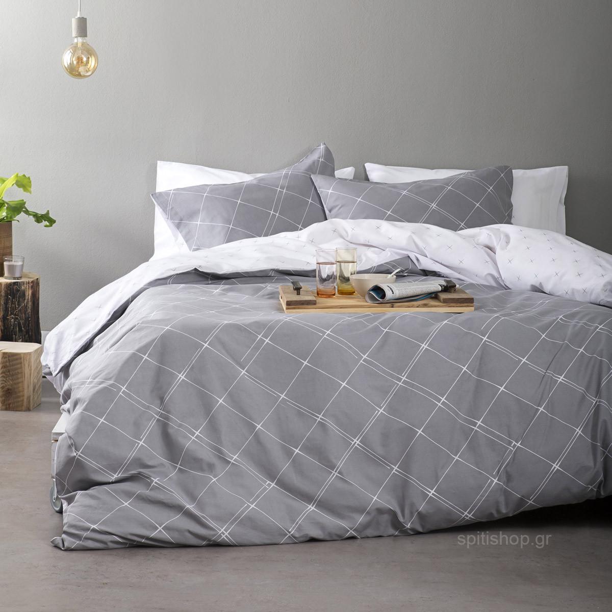 Σεντόνια Υπέρδιπλα (Σετ) Nima Bed Linen Azzora Grey ΜΕ ΛΑΣΤΙΧΟ 160×200+32 ΜΕ ΛΑΣΤΙΧΟ 160×200+32