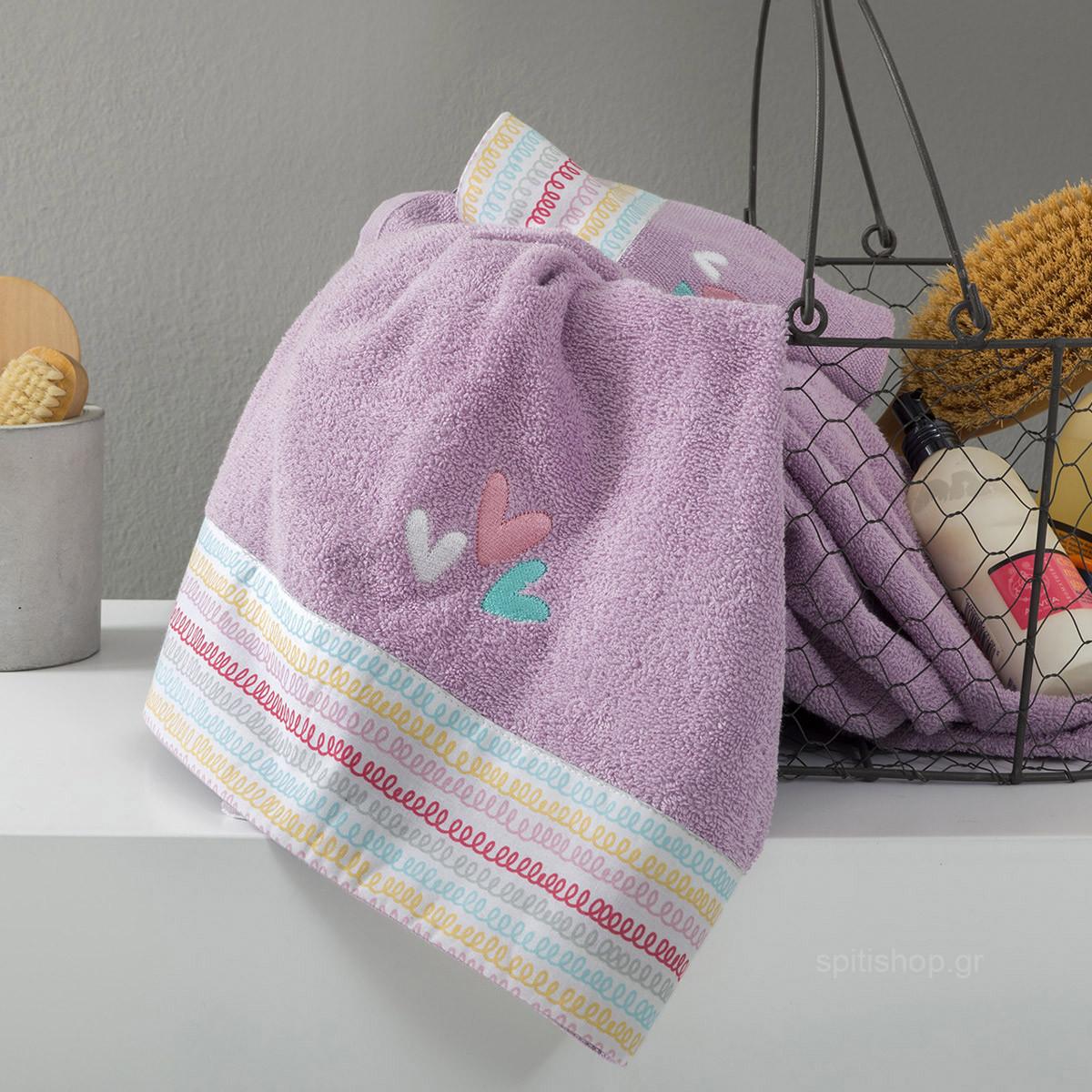 Παιδικές Πετσέτες (Σετ 2τμχ) Nima Kids Rainbow Hearts