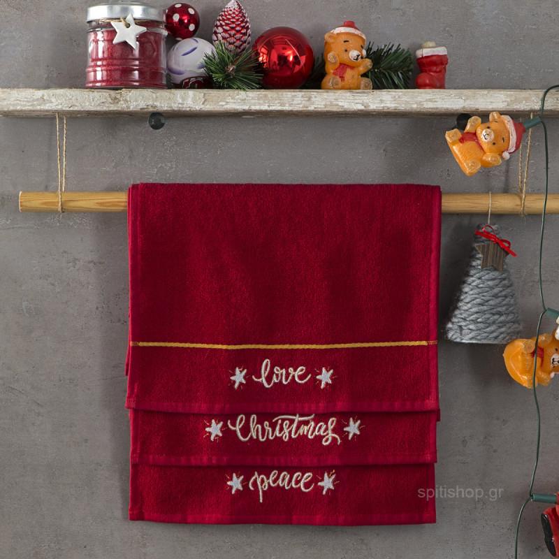 Χριστουγεννιάτικες Πετσέτες (Σετ 3τμχ) Nima Carols