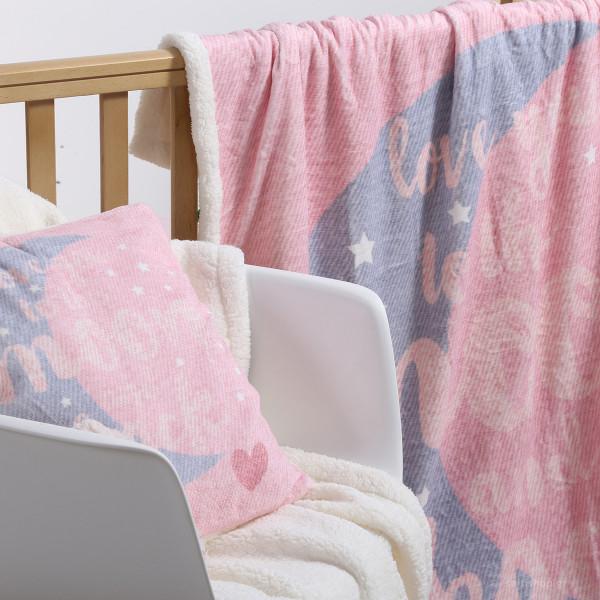 Κουβέρτα Fleece Κούνιας Με Γουνάκι Nef-Nef Moon+Back Pink