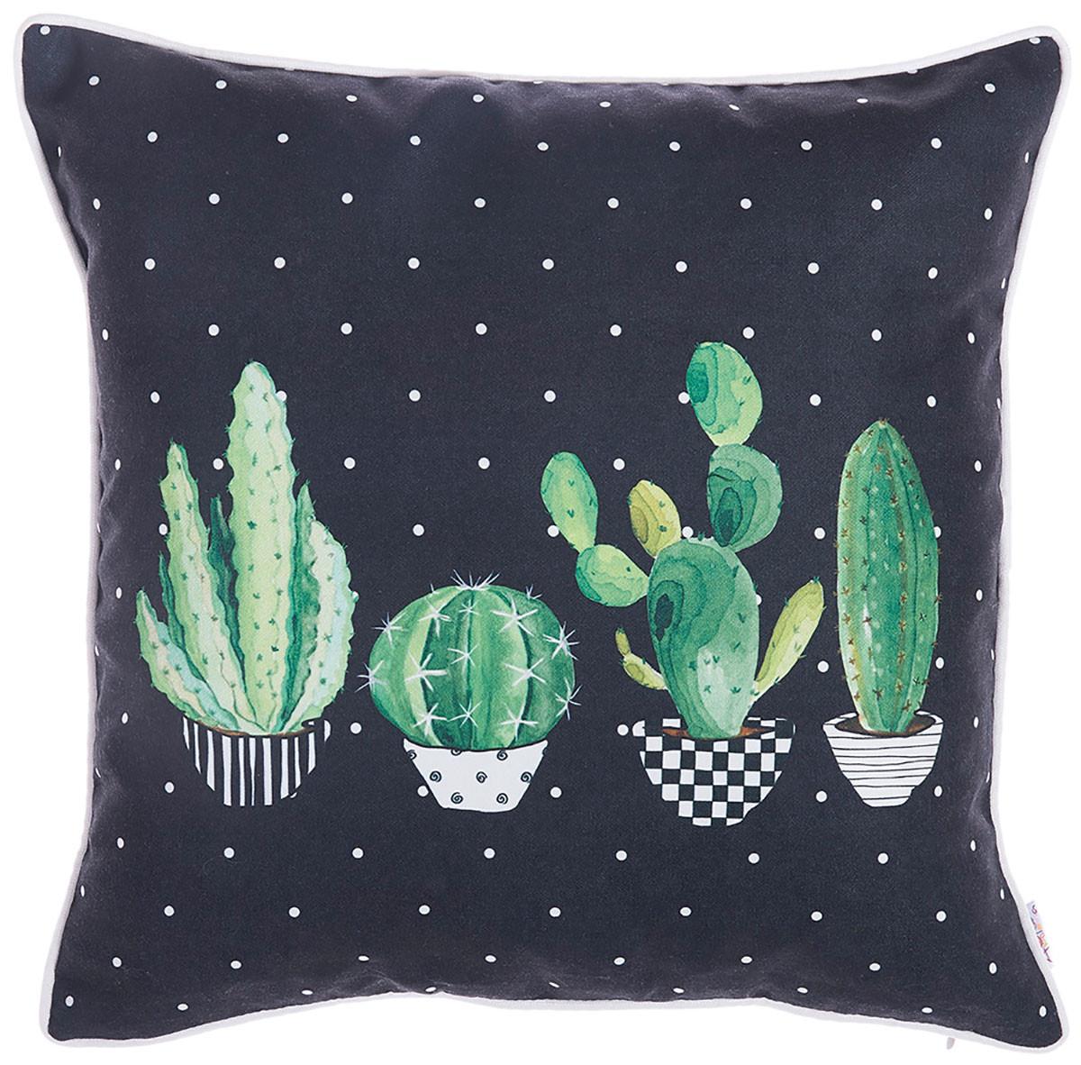 Διακοσμητική Μαξιλαροθήκη (43×43) Apolena Cactus Black 702-6215/1