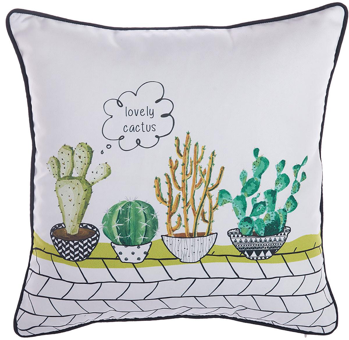 Διακοσμητική Μαξιλαροθήκη Apolena Cactus White 702-6217/1