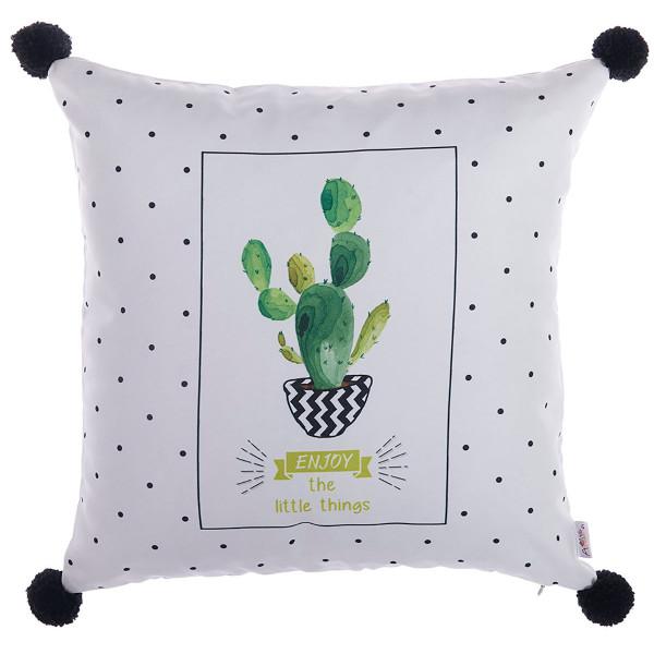 Διακοσμητική Μαξιλαροθήκη (43x43) Apolena Cactus White 702-6219/P1
