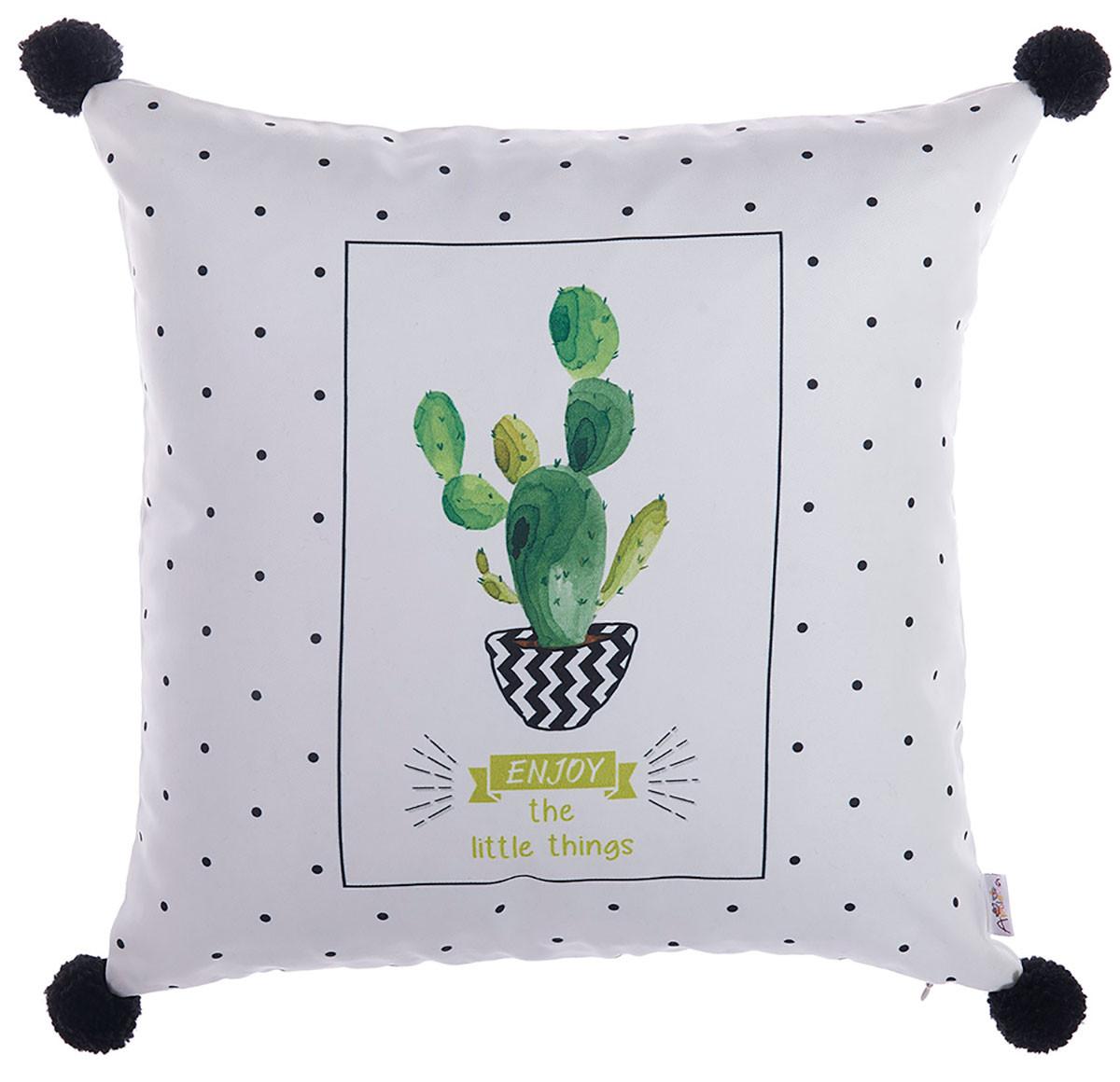 Διακοσμητική Μαξιλαροθήκη (43×43) Apolena Cactus White 702-6219/P1