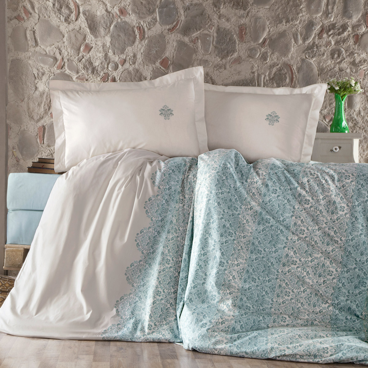 Σεντόνια Υπέρδιπλα (Σετ) Ravelia Ranforce Tiera Turquoise home   κρεβατοκάμαρα   σεντόνια   σεντόνια υπέρδιπλα