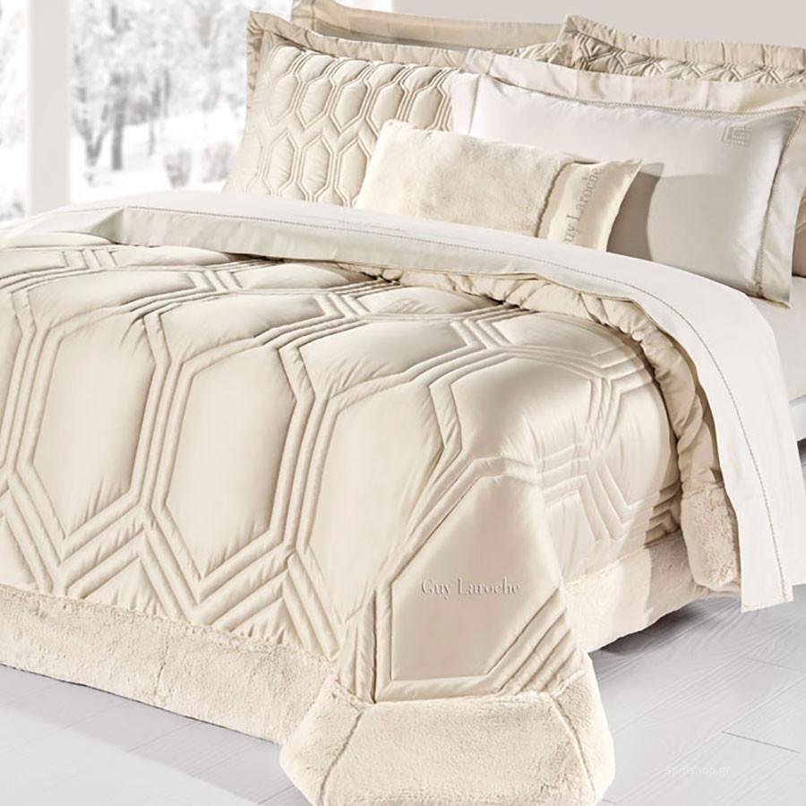 Πάπλωμα Με Γούνα Υπέρδιπλο (Σετ) Guy Laroche Hexagon Sand